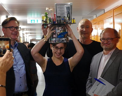 Dr. Tanja Bauer 2019 and examiners Prof. Libuda, Prof. Görling, Prof. Wasserscheid (image: FAU)
